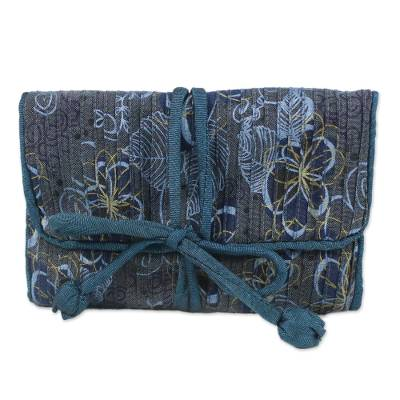 Rayon and silk blend jewelry roll, 'Floral Traveler' - Artisan Crafted Rayon and Silk Jewelry Roll from Thailand