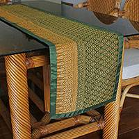 Cotton and silk blend table runner, 'Banana Leaf Elegance' - Handmade 60% Cotton 40% Silk Floral Yok Dok Table Runner