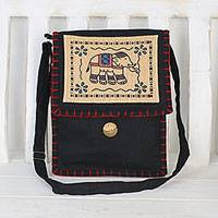 Cotton sling bag, 'Charming Elephant in Black' - Artisan Handmade Black Cotton Sling Bag Elephant Thailand