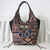 Leather accent cotton blend shoulder bag, 'Gorgeous Geometry in Navy' - Handmade Cotton Blend Patchwork Geometric Shoulder Bag
