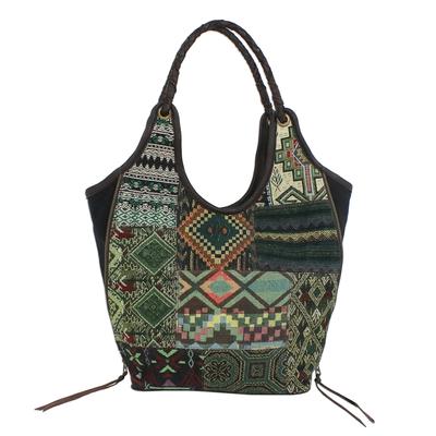 Novica Leather accented cotton blend shoulder bag, Graceful Geometry in Green