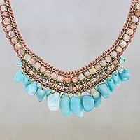 Multi-gemstone pendant necklace, 'Bohemian Charm in Blue' - Jasper and Amazonite Pendant Necklace from Thailand