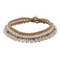 Rose quartz and amethyst beaded anklet, 'Sweet Bohemian' - Rose Quartz and Amethyst Beaded Anklet from Thailand