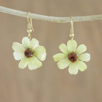 Natural zinnia dangle earrings, 'Yellow Summertime Zinnia' - Resin Coated Natural Zinnia Dangle Earrings from Thailand