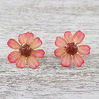 Natural zinnia button earrings, 'Red Summertime Zinnia' - Resin Coated Natural Zinnia Button Earrings from Thailand