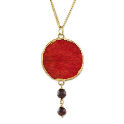 Garnet and Gold Plated Natural Rose Petal Pendant Necklace