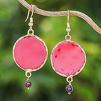 Garnet and gold-accented natural rose petal dangle earrings, 'Red Rose of Autumn' - Garnet and Gold Plated Natural Rose Petal Dangle Earrings