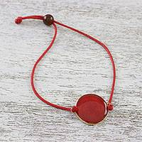 Gold-accented natural rose petal pendant bracelet, 'Crimson Delight' - Gold Accented Natural Rose Petal Waxed Cotton Cord Bracelet