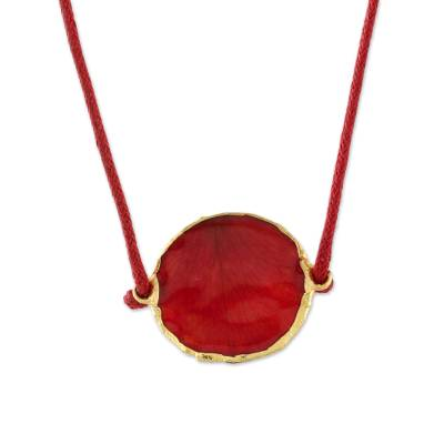 Thai Gold Accented Natural Rose Petal Pendant Necklace