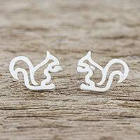 Sterling silver stud earrings, 'Friendly Squirrel' - Squirrel Stud Earrings with Brushed Sterling Silver