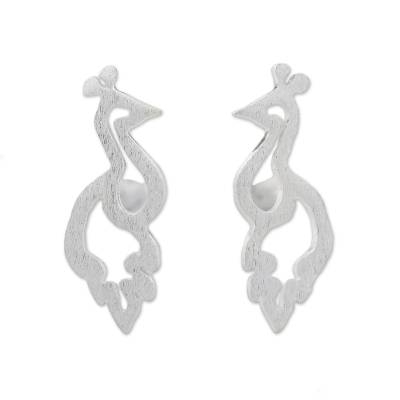 Brushed Sterling Silver Peacock Button Earrings