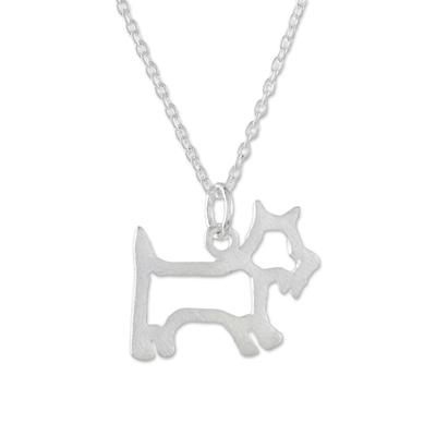 Brushed Sterling Silver Scottie Dog Pendant Necklace