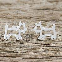 Sterling silver stud earrings, 'Friendly Scottie Dog' - Brushed Sterling Silver Scottie Dog Stud Earrings