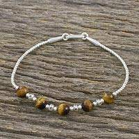 Tiger's eye beaded bracelet, 'Earthy Enchantment' - Tiger's Eye Beaded Bracelet from Thailand