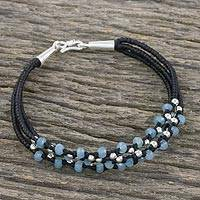 Quartz beaded cord bracelet, 'Celestial Trinity' - Blue Quartz and Sterling Silver Cord Bracelet from Thailand