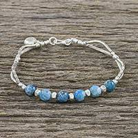 Apatite beaded bracelet, 'Tidal Blessings' - Thai Apatite and 950 Silver Beaded Bracelet