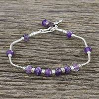 Amethyst beaded bracelet, 'Divine Flower' - Thai Amethyst and 950 Silver Beaded Bracelet