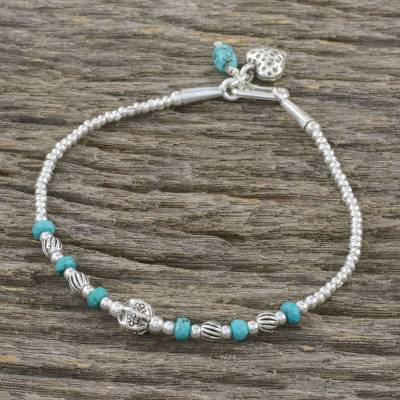 Silver beaded bracelet, 'Love of the Ocean' - Reconstituted Turquoise Beaded Bracelet from Thailand