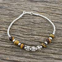 Tiger's eye beaded bracelet, 'Beaded Enchantment' - Tiger's Eye Bracelet with 950 Silver Beads from Thailand