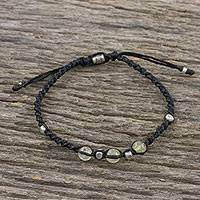 Citrine beaded cord bracelet, 'Warm Wishes' - Adjustable Black Cord Bracelet with Citrine Beads