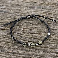 Citrine beaded cord bracelet, 'Warm Wishes'
