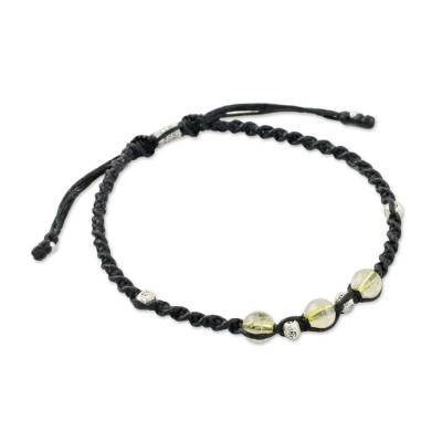 Citrine beaded cord bracelet, 'Warm Wishes' - Adjustable Black Cord Bracelet with Citrine Beads