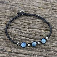 Apatite beaded cord bracelet, 'Sentimental Blue' - Apatite and 950 Silver Beaded Cord Style Bracelet