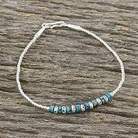 Silver beaded bracelet, 'Relaxing Holiday' - Silver and Recon Turquoise Beaded Bracelet from Thailand