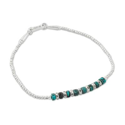Silver and Recon Turquoise Beaded Bracelet from Thailand