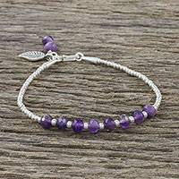 Amethyst beaded bracelet, 'Blowing Leaf' - Leafy Amethyst and Silver Beaded Bracelet from Thailand
