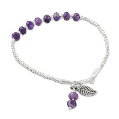 Amethyst beaded bracelet, 'Blowing Leaf' - Leafy Amethyst and Silver Beaded Bracelet from Thailand