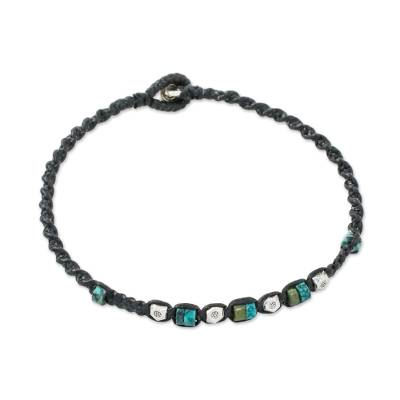 Karen Silver and Recon Turquoise Bracelet from Thailand