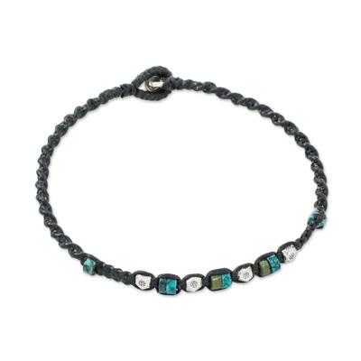Silver beaded bracelet, 'Happy Karen' - Karen Silver and Recon Turquoise Bracelet from Thailand