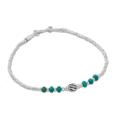 Karen Silver and Turquoise Beaded Bracelet from Thailand