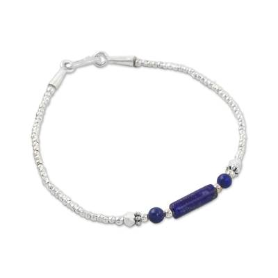 Lapis lazuli beaded bracelet, 'Blue Karen' - Lapis Lazuli and Silver Beaded Bracelet from Thailand