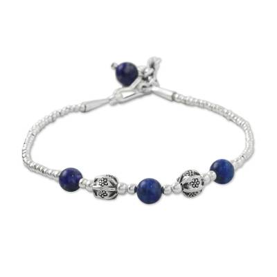 Lapis lazuli beaded bracelet, 'Floral Dream' - Lapis Lazuli and Karen Silver Beaded Bracelet from Thailand