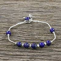 Lapis lazuli beaded bracelet, 'Floral Angles' - Lapis Lazuli and 950 Silver Beaded Bracelet from Thailand