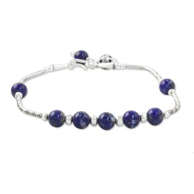 Lapis lazuli beaded bracelet, 'Floral Angles' - Lapis Lazuli and 950 Silver Beaded Bracelet from Thailand