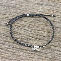 Silver charm anklet, 'Cute Butterfly' - Karen Silver Butterfly Charm Anklet from Thailand
