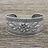 Sterling silver cuff bracelet, 'Pleasure in Paradise' - Handmade Sterling Silver Floral Cuff Bracelet from Thailand