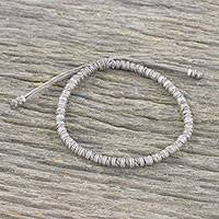 Silver beaded cord bracelet, 'Endeavor in Taupe' - Taupe Cord and 950 Silver Beaded Bracelet from Thailand