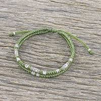 Silver beaded cord bracelet, 'Double Luck in Olive' - Handmade Olive Cord Bracelet with 950 Silver Beads