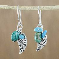 Silver dangle earrings, 'Lively Leaves' - Silver and Recon Turquoise Leaf Earrings from Thailand