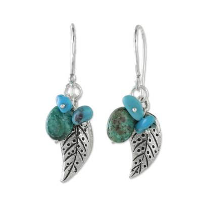 Silver and Recon Turquoise Leaf Earrings from Thailand