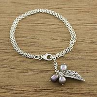 Cultured pearl charm bracelet, 'Lively Leaf in Grey' - Cultured Pearl Leaf Bracelet in Grey from Thailand