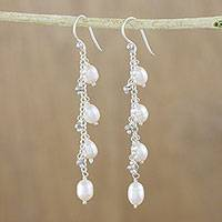 Cultured pearl dangle earrings, 'Purity of Life in White' - White Pearl Dangle Earrings from Thailand