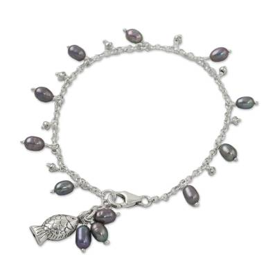 Fish Cultured Pearl Charm Bracelet in Grey from Thailand