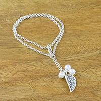 Cultured pearl charm bracelet, 'Lively Leaf in White' - Cultured Pearl Leaf Charm Bracelet in White from Thailand