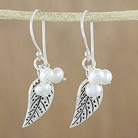 Cultured pearl dangle earrings, 'Lively Leaves in White'