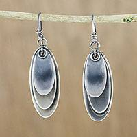 Sterling silver dangle earrings, 'Mystical Trios'